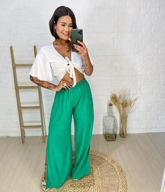 Calça Pantalona Com Fenda Verde Bandeira