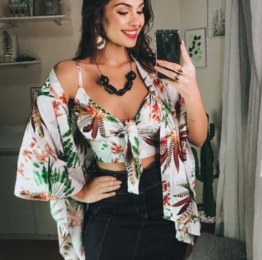 Conjunto Cropped Com Kimono