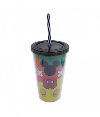 Copo Com Canudo Formato Mickey Colorido 450ml 90 Anos