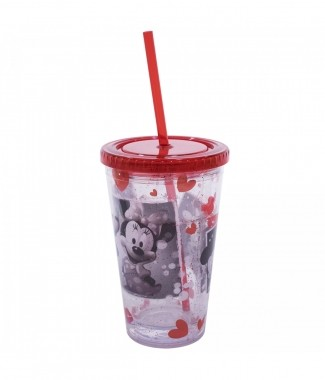Copo Com Canudo Mickey & Minnie Foto 450ml