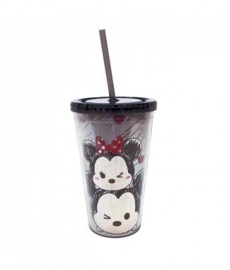 Copo Com Canudo Preto Mickey E Minnie Tsum Tsum 450ml