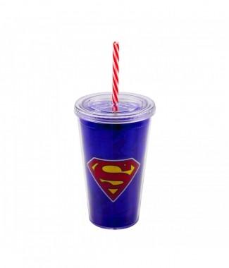 Copo Com Canudo Super Homem 450ml