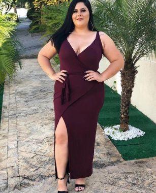Vestido Plus Longo Vinho