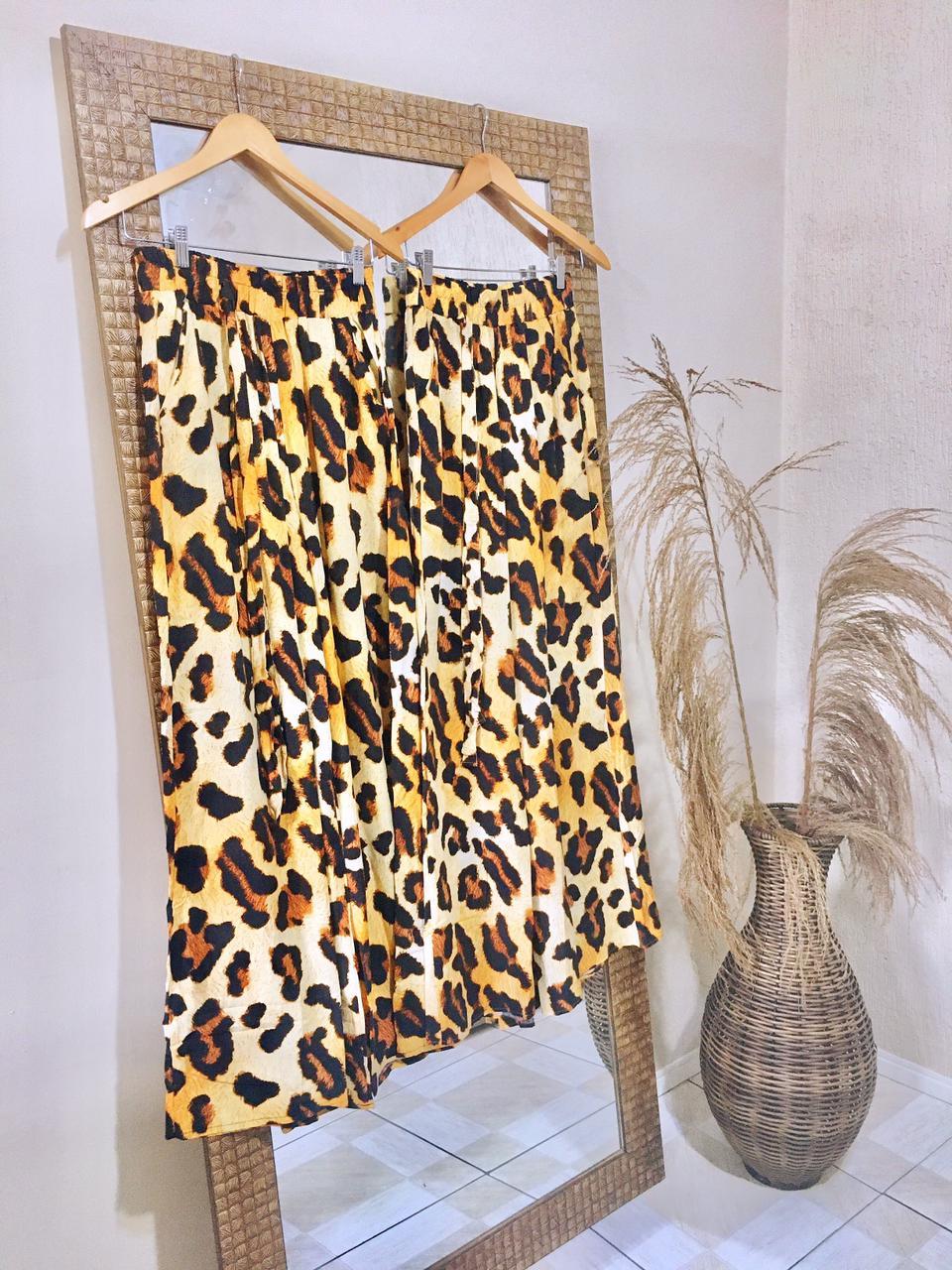Calça Pantalona- Animal Print