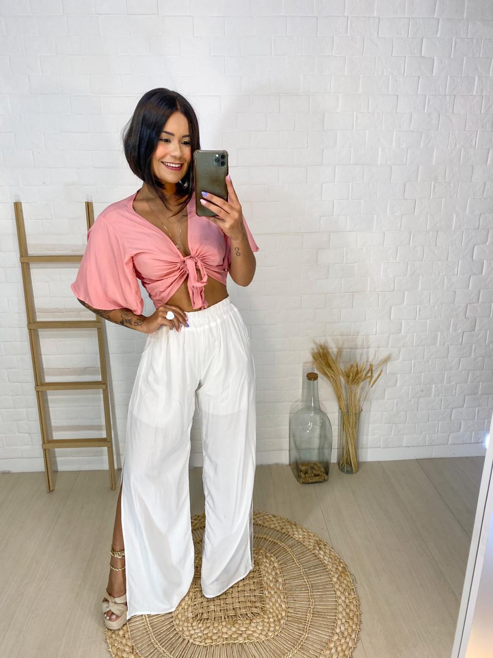 Calça Pantalona  Com Fenda- Diversas Cores