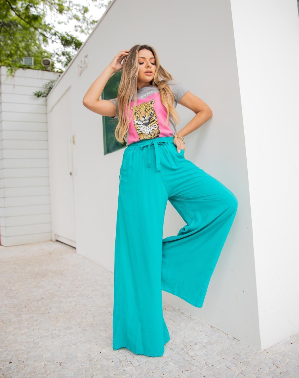 Calça Pantalona Verde Esmeralda