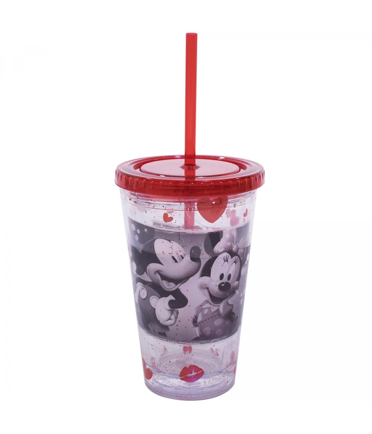 Copo Com Canudo Mickey & Minnie Foto 450ml