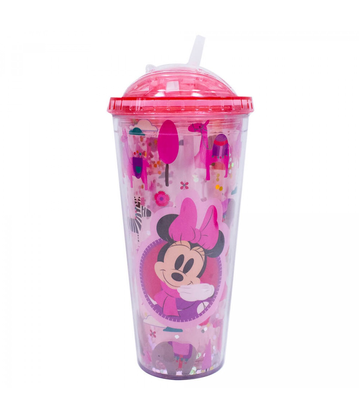 Copo Rosa Minnie Cubos Gelo Artificial 600ml