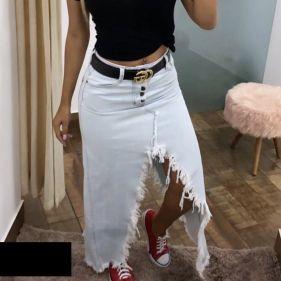 Saia Jeans Claro Trend Slit
