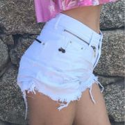 Short Degrant Cintura Alta Zíper Collection Branco