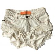 Short Jeans Degrant Cintura Alta Off White