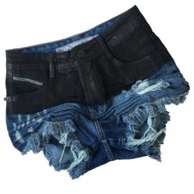 Short Jeans Cintura Alta Gloss Black