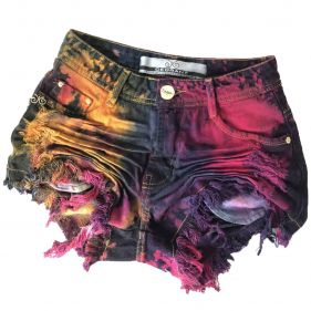 Short Jeans Feast Color Tie Dye