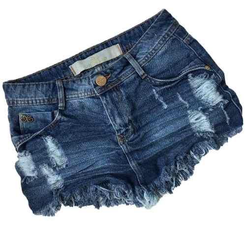 Saia Jeans Degrant Destroyed De Bico Jeans Médio
