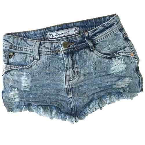 Saia Jeans Feminina Degrant Destroyed De Bico Marmorizado Azul