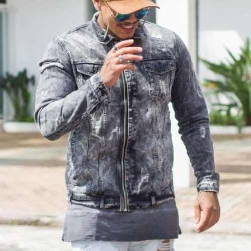 Jaqueta Jeans Degrant Dgn Destroyed Com Zíper