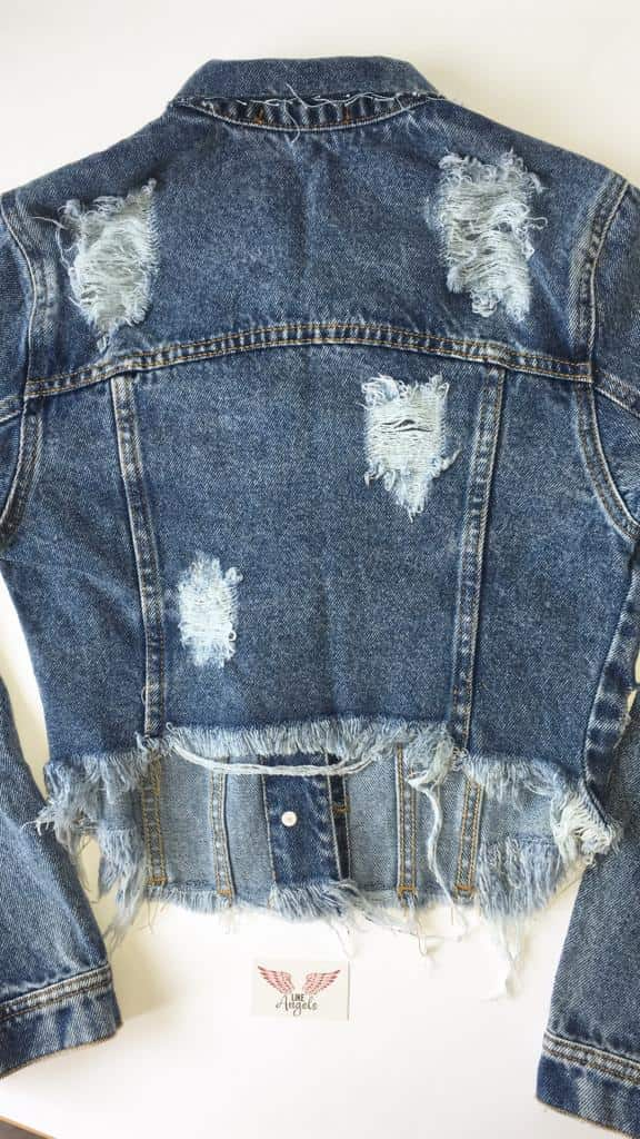 JAQUETA JEANS CROPPED DEGRANT DESTROYED