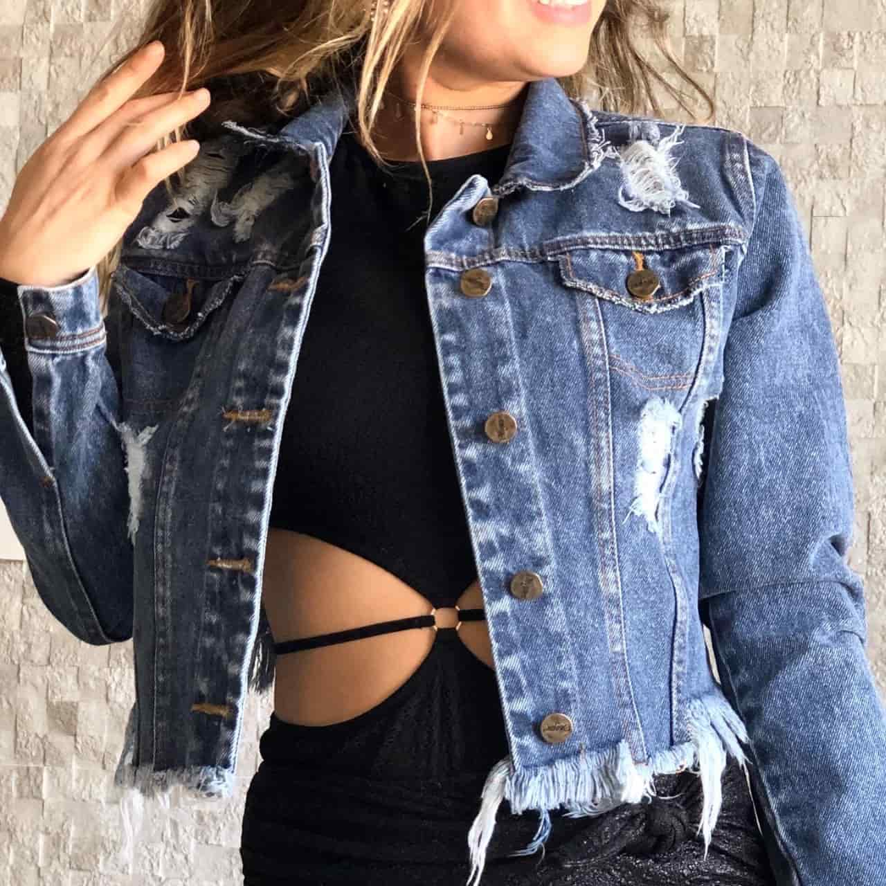 Jaqueta Jeans Cropped Destroyed