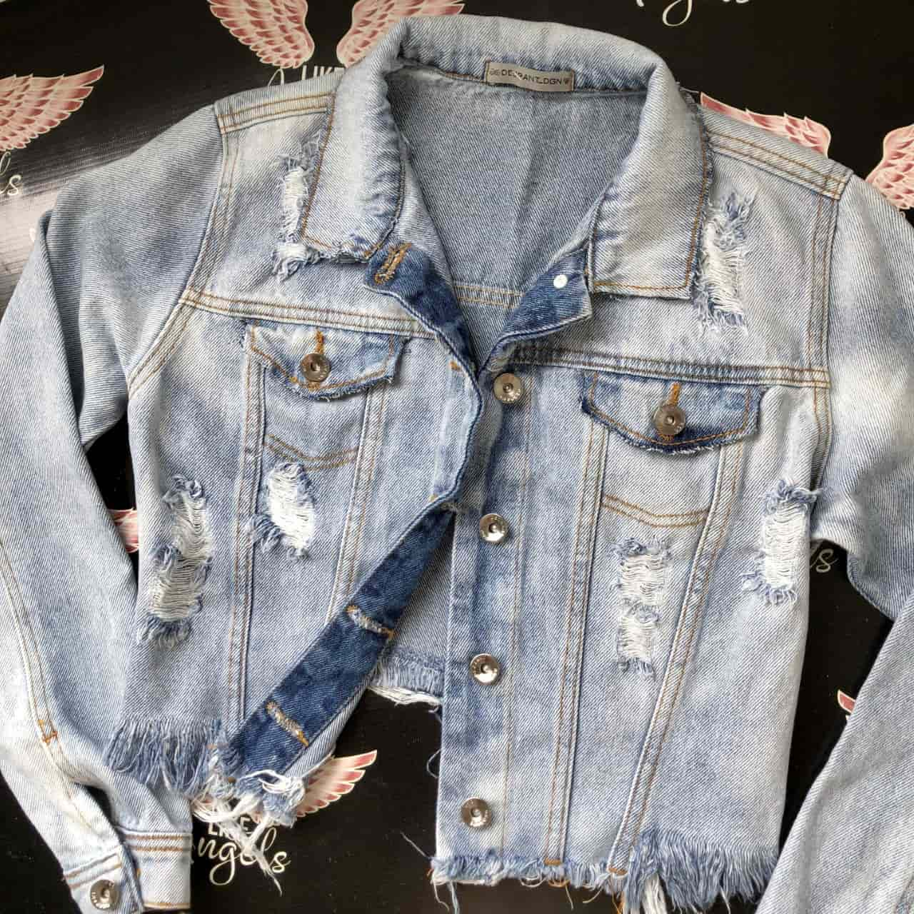 Jaqueta Jeans Cropped Used Destroyed