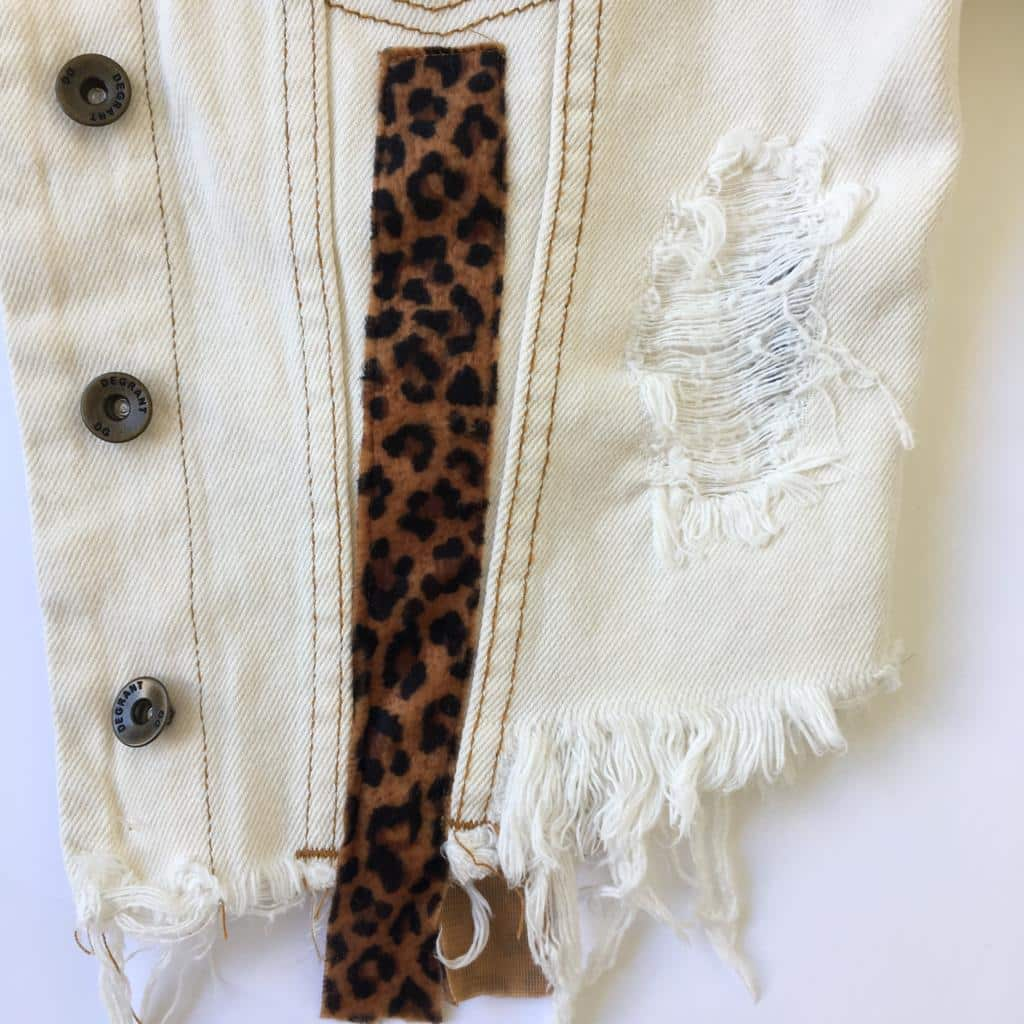 JAQUETA JEANS DEGRANT CROPPED DESTROYED OFF-WHITE ANIMAL PRINT