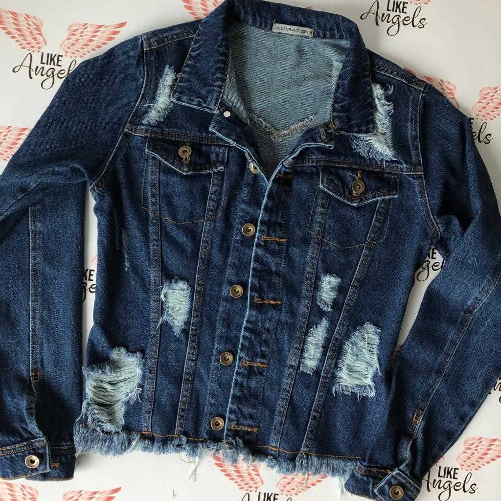 JAQUETA JEANS ESCURO DESTROYED CLASSIC