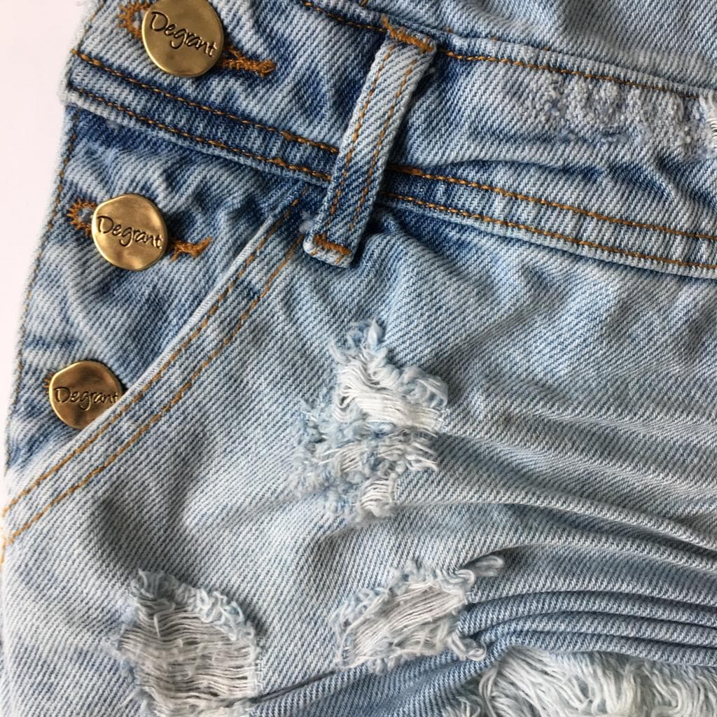 Jardineira Jeans Feminina Degrant Destroyed Delavé