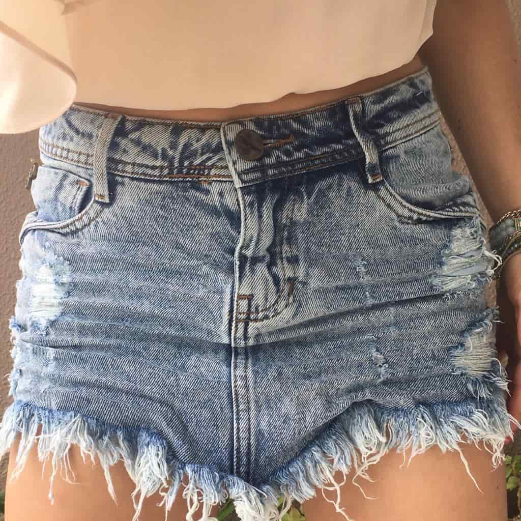 Saia Jeans Destroyed Marmorizado