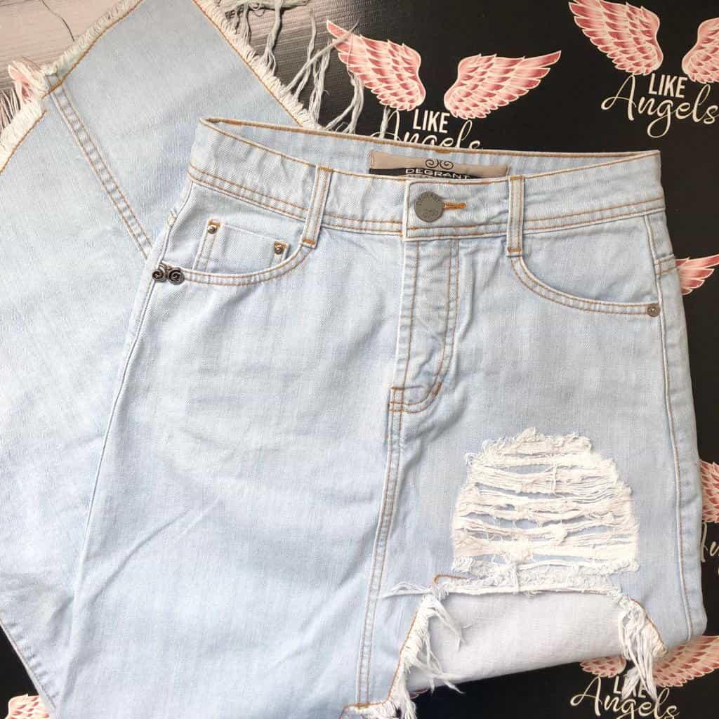 Saia Jeans Claro Trend Over