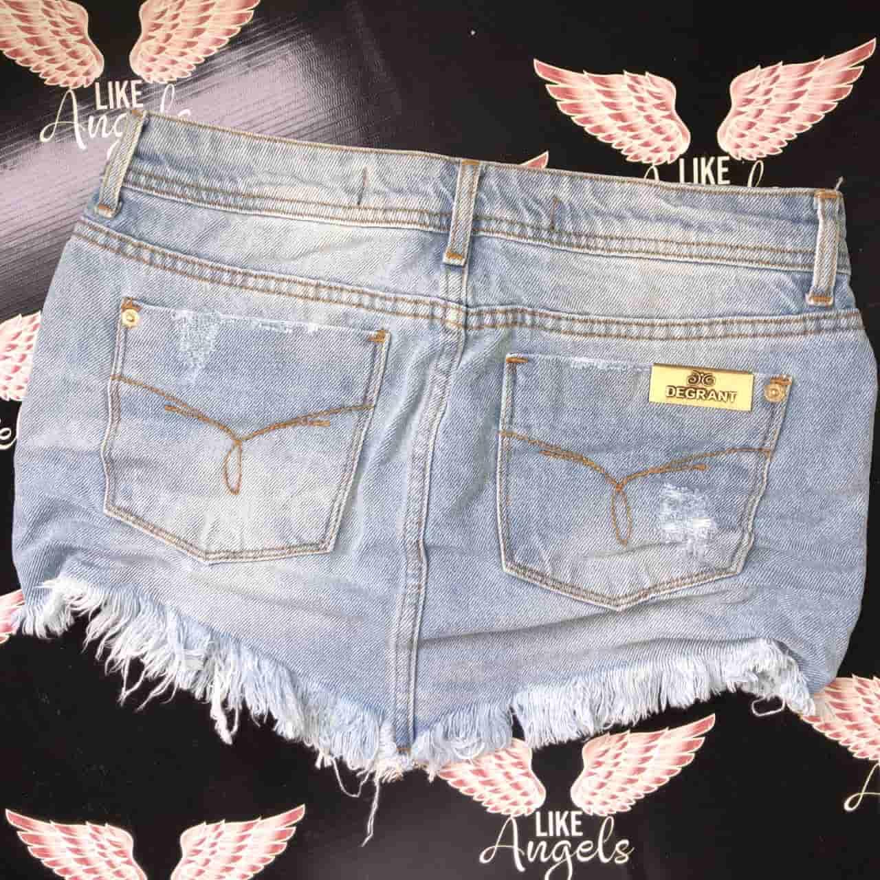 Saia Jeans Claro Used Destroyed