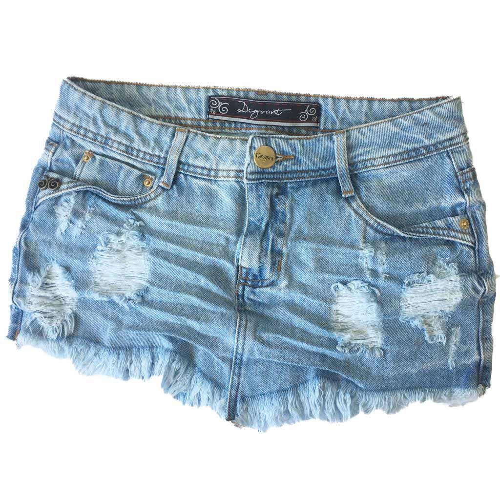 Saia Jeans Claro Destroyed