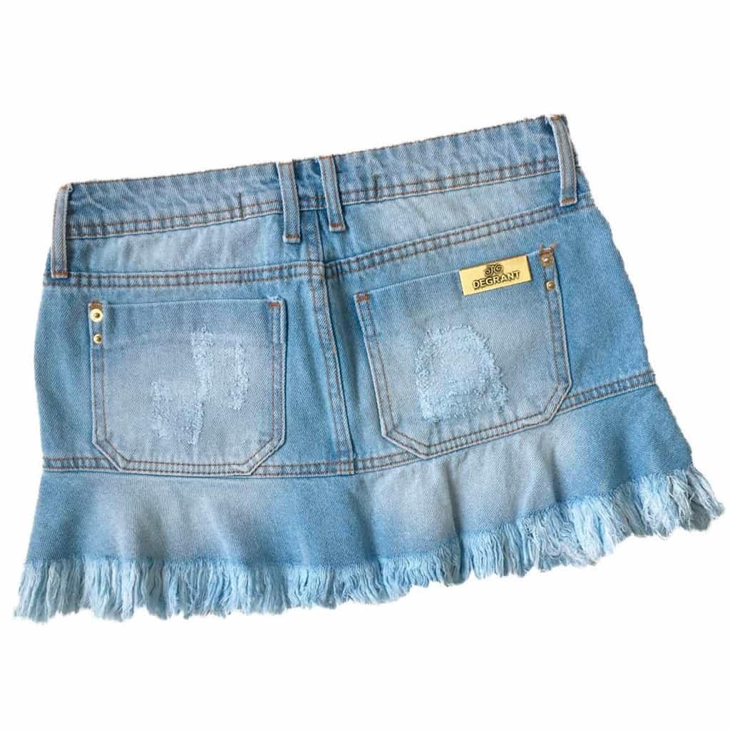 Saia Jeans Degrant Claro De Babado