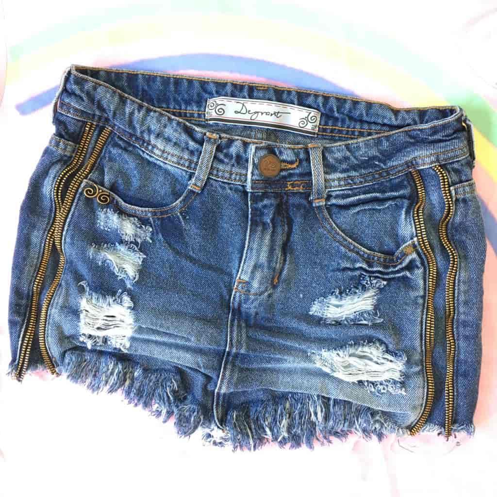 Saia Jeans Degrant Destroyed De Bico Zíper Collection