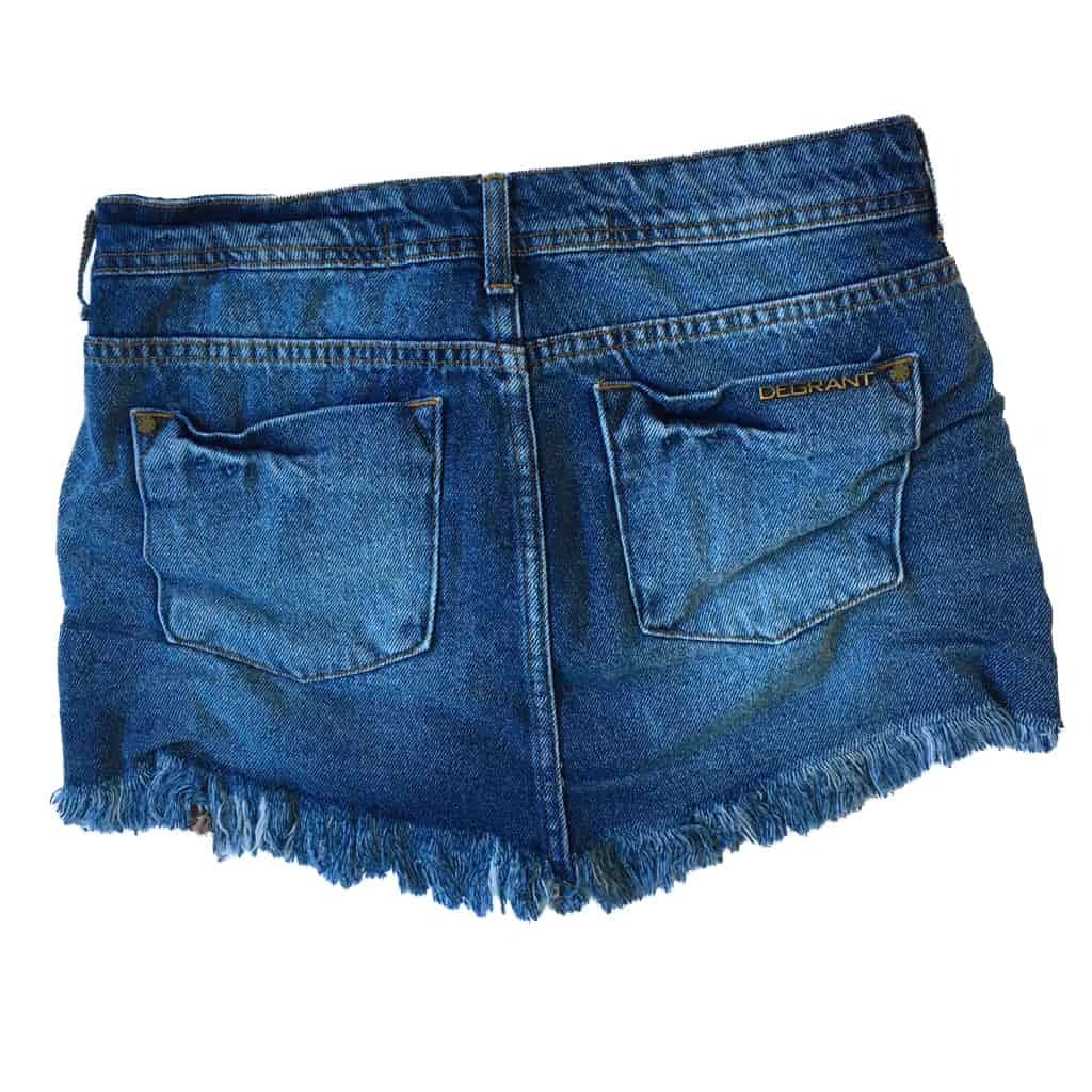 Saia Jeans Feminina Degrant Destroyed De Bico Zíper Collection Azul