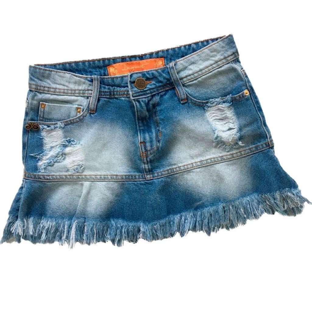 Saia Jeans Degrant de Babado