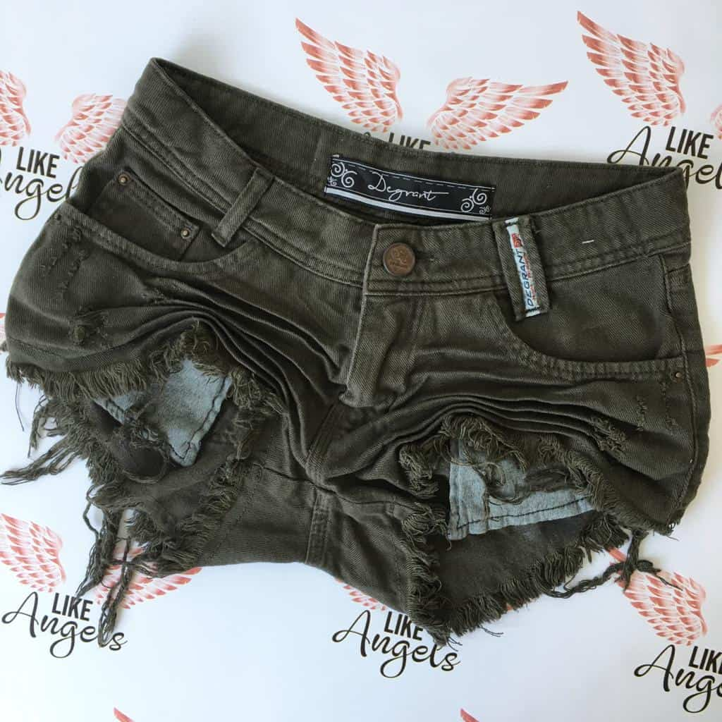 Short Jeans Verde Degrant Destroyed Nature