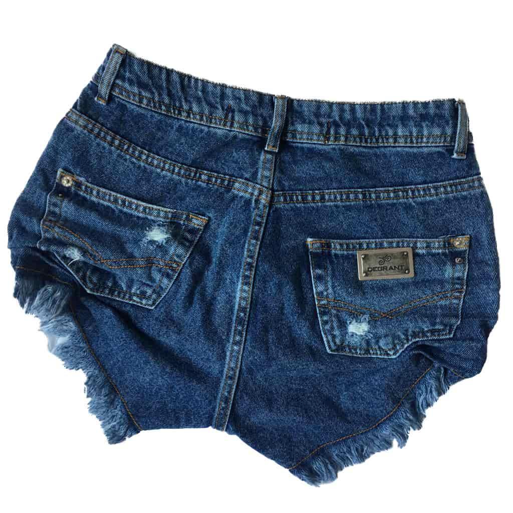 Short Jeans Degrant Cintura Alta Details Azul