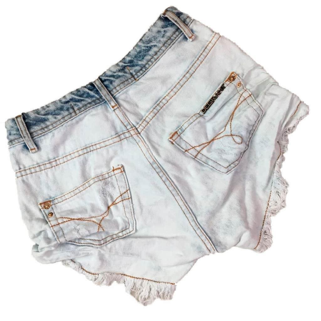 Short Jeans Degrant Cintura Alta Neon Azul