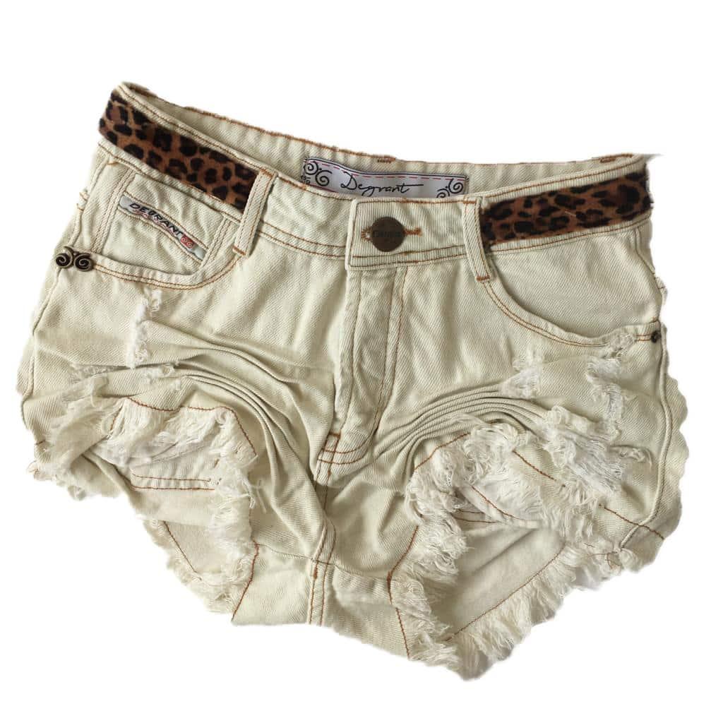 Short Jeans Off White Animal Print
