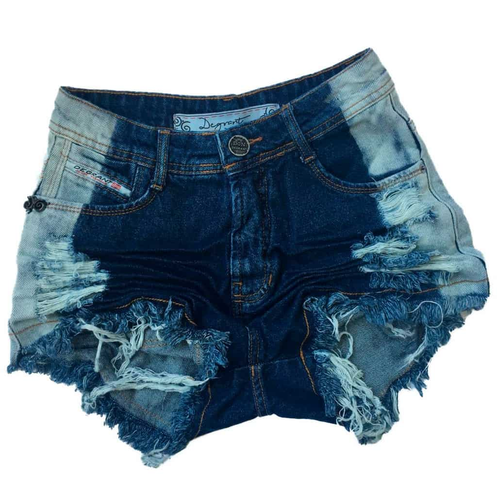 Short Jeans Degrant Cintura Alta Patch Corrosão Azul