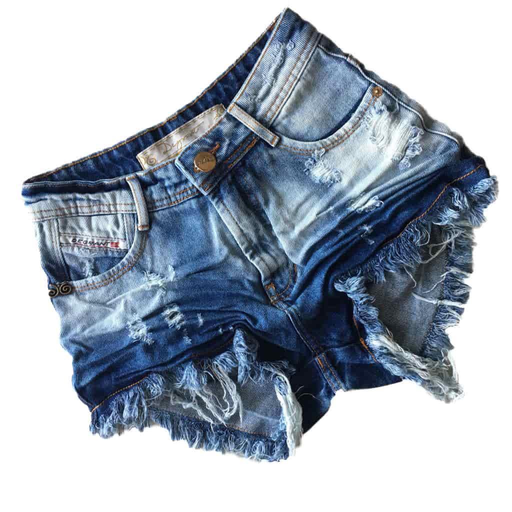 Short Jeans Degrant Cintura Alta Sky