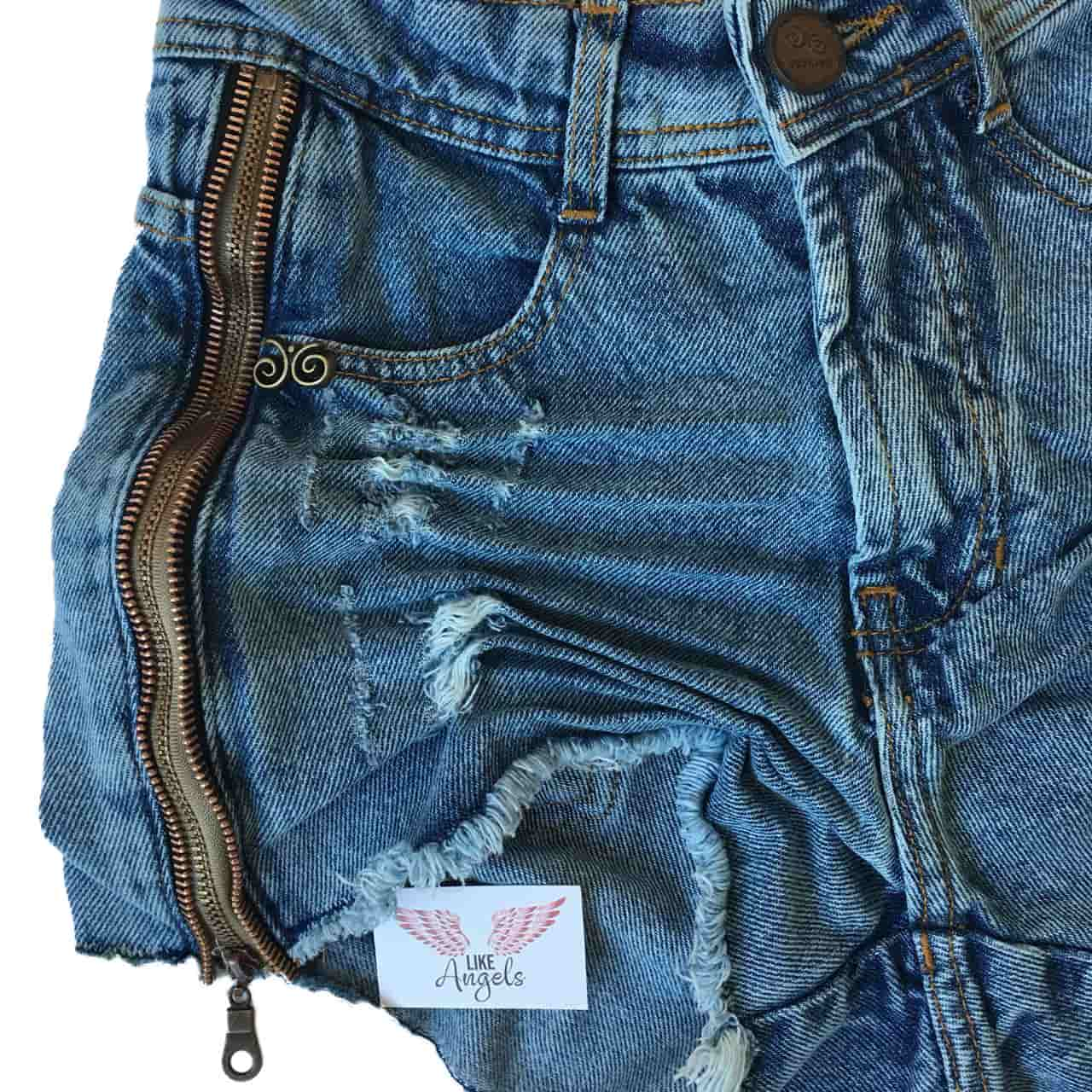 Short Jeans Degrant Cintura Alta Zíper Collection