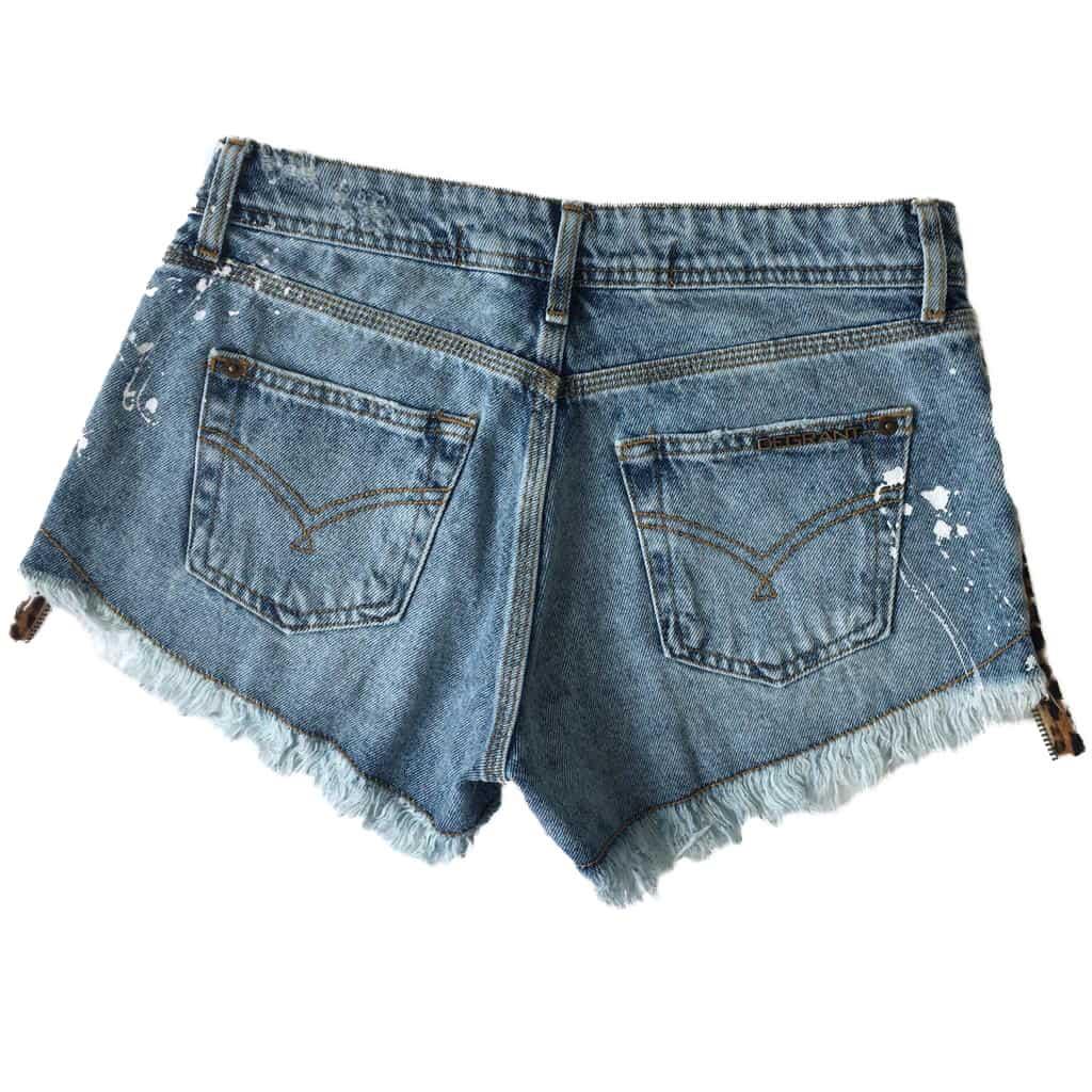 Short Jeans Degrant Destroyed Animal Print Azul