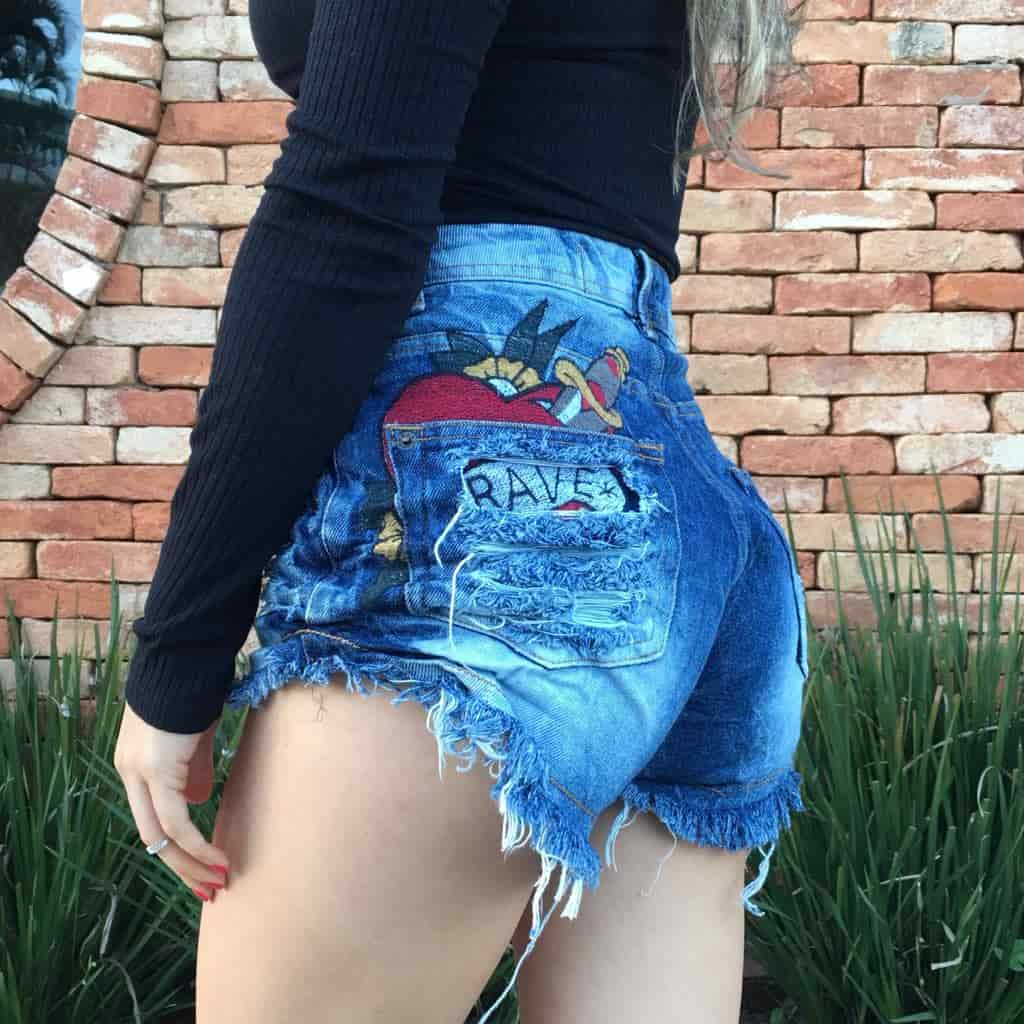 Short Jeans Feminino Degrant Destroyed Cintura Alta Brave Azul