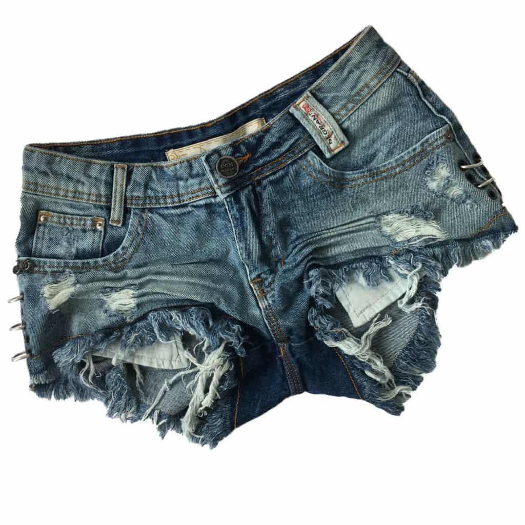 Short Jeans Feminino Degrant Destroyed Com Argolas Azul