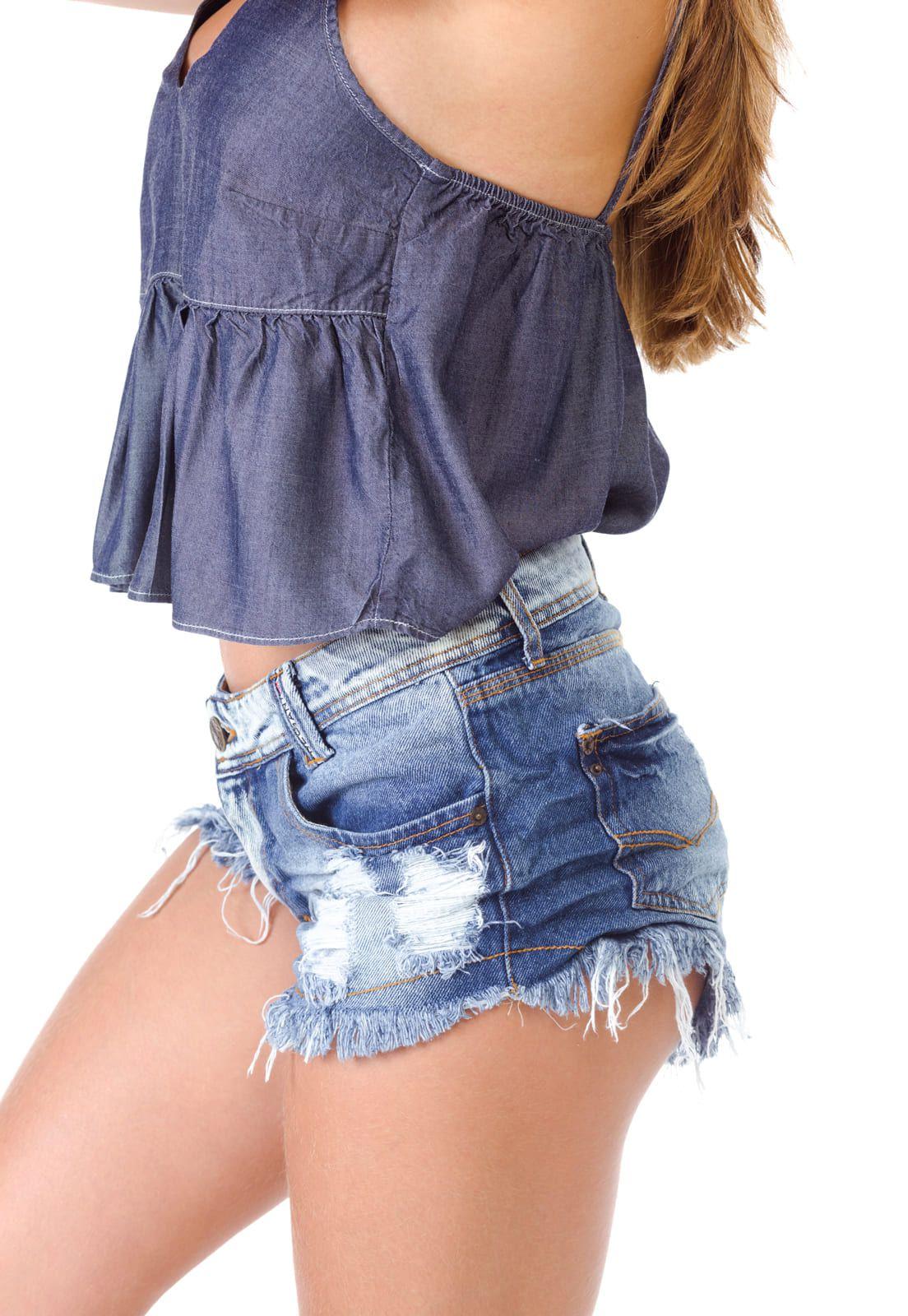 Short Jeans Feminino Degrant Destroyed Cós Bordado Azul