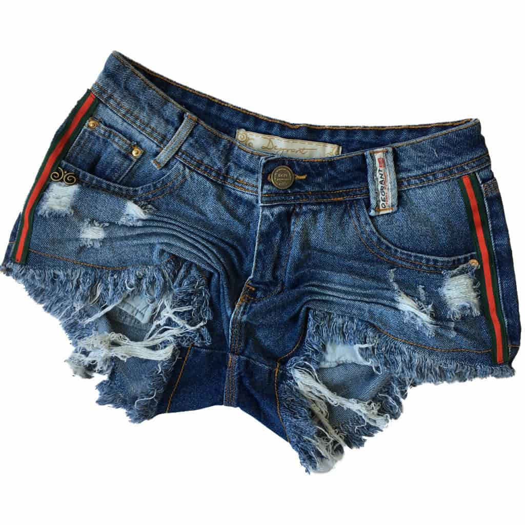 Short Jeans Destroyed Fita Duocolor