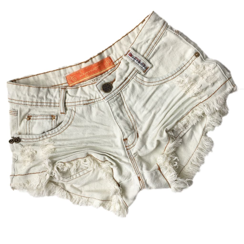 Short Jeans Degrant Destroyed Off White