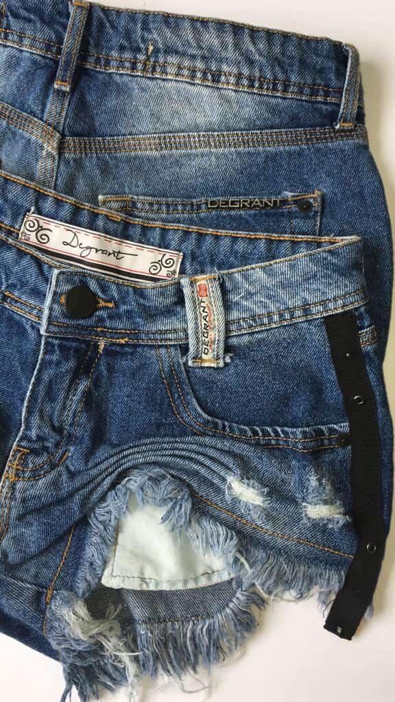 Short Jeans Feminino Degrant Destroyed Sideband Black Azul