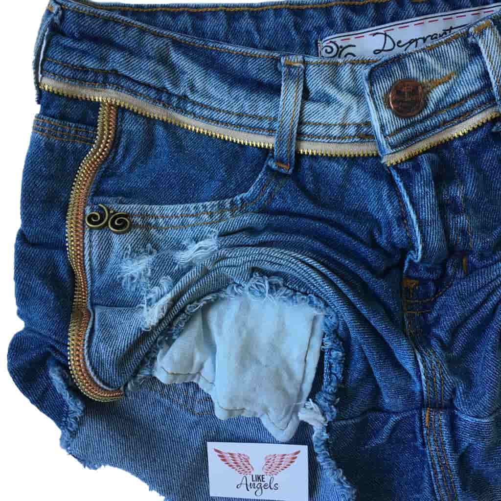 Short Jeans Degrant Destroyed Ziper Collection Azul