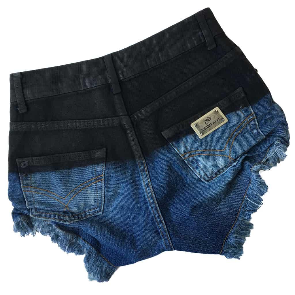 Short Jeans Degrant Cintura Alta Gloss Black